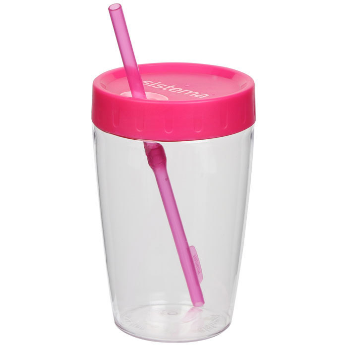 "Стакан с трубочкой Sistema ""Hydrate"", Тритан, 525  мл, цвет Розовый"