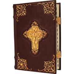 Библия с комментариями, золотой филигранью и гранатами