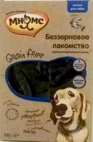 МНЯМС Лакомство для собак беззерновое лакомство Grain Free с лососем