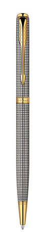 Шариковая ручка Parker Sonnet Slim K434, цвет: Cisele (серебро 925 пробы, 11.00) , стержень: Mblue123