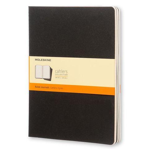 Блокнот Moleskine CAHIER JOURNAL QP321 XLarge 190х250мм обложка картон 120стр. линейка черный (3шт)
