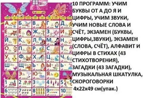 Эл. плакат IP6256 Азбука. Учим с WINX (СБ)