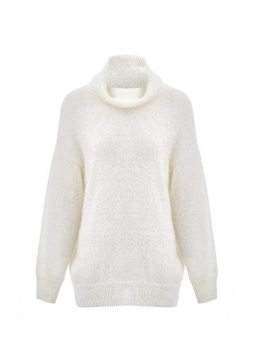 Женский свитер молочного цвета из ангоры - фото 1