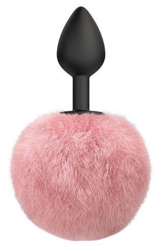 Черная анальная пробка с розовым пушистым хвостиком Fluffy