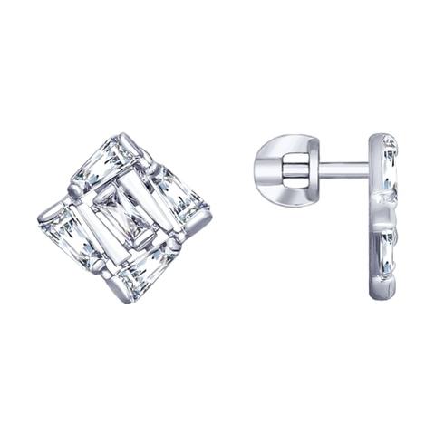 94022990 - Серьги-пусеты из серебра  c багетными фианитами