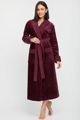 Стильный махровый халат  742 сливовый