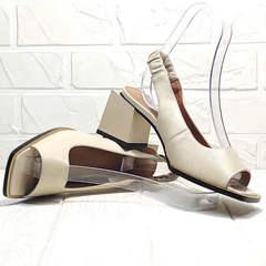 Летние босоножки на толстом каблуке Brocoli H150-9137-2234 Cream
