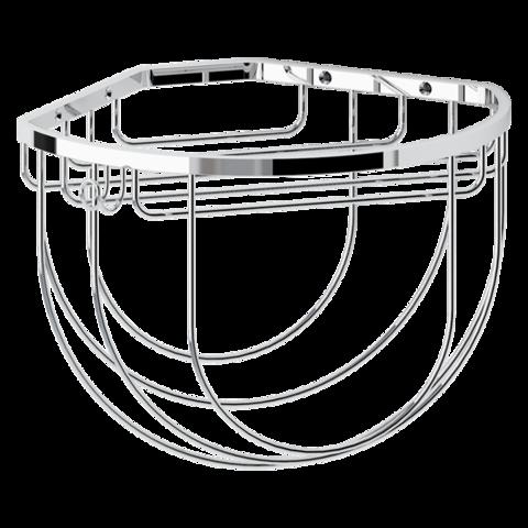 Полочка-решетка угловая полукруглая 26 см с держателями для мочалок RYNA  RYN 034 FBS