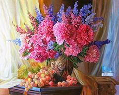 Картина раскраска по номерам 40x50 Натюрморт с виноградом