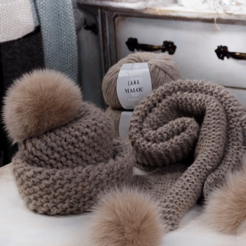 Описание Комплект диагональная шапка+шарф
