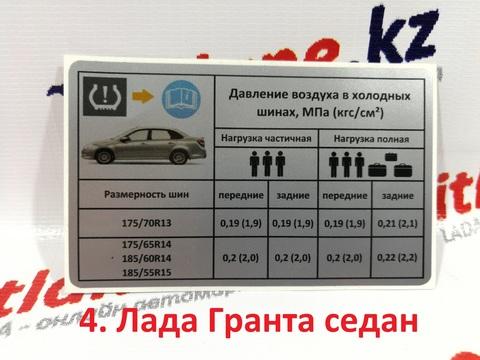 Наклейка информационная о давлении шин Лада Гранта (седан)