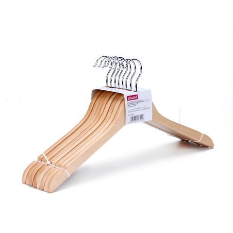 Вешалка-плечики деревянная Attache с выемками натуральная (размер 48-50, 8 шт/уп)