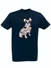 Футболка с принтом Собака (Dog) темно-синяя 009