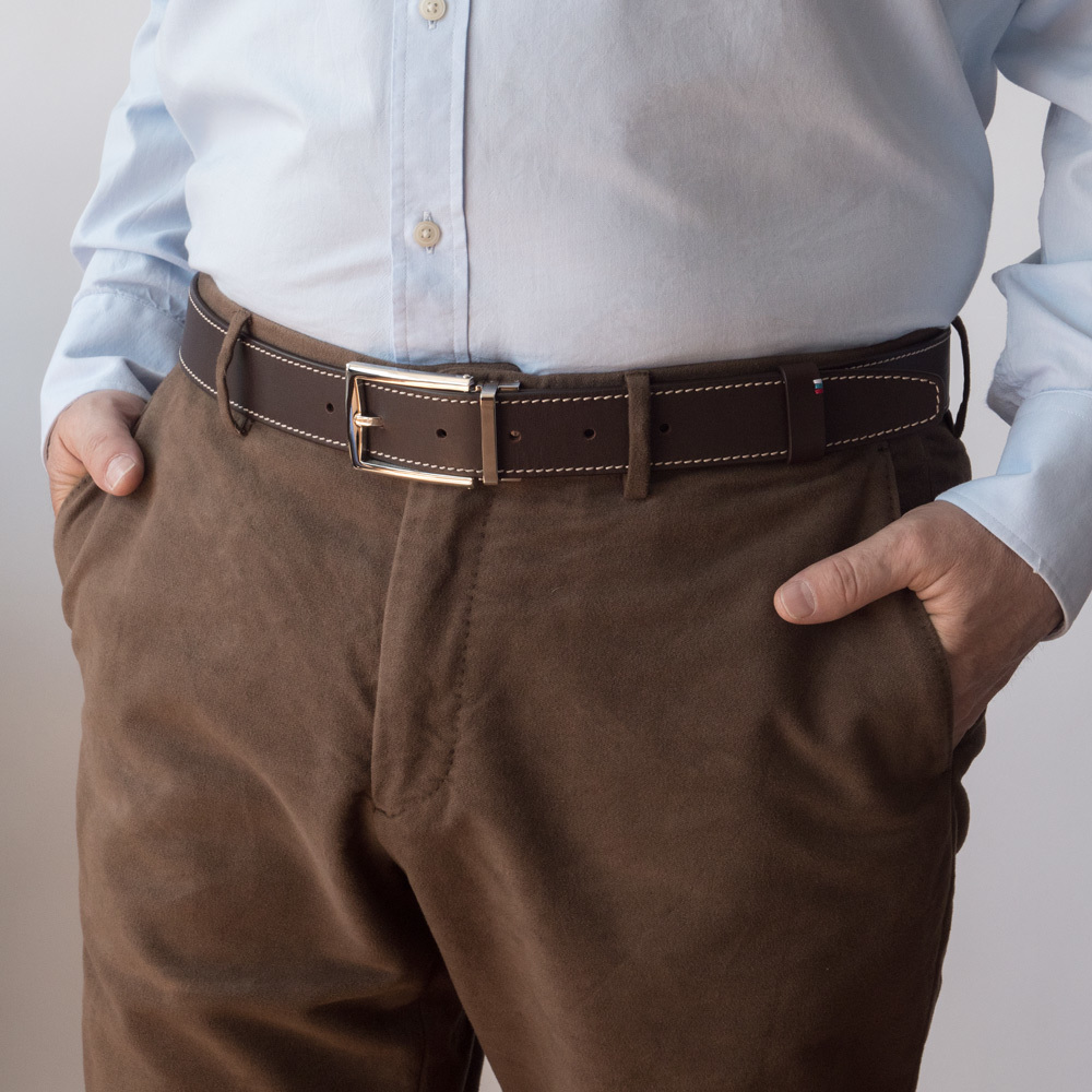 Ремень кожаный мужской темно-коричневого цвета ширина 35мм стальная пряжка