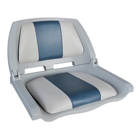 Сиденье пластмассовое складное с подложкой Molded Fold-Down Boat Seat, серо-голубое