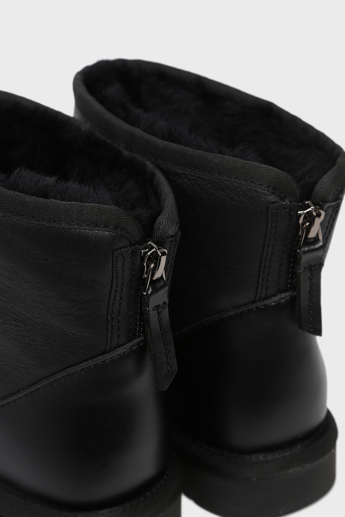 Женские черные кожаные угги Mayo Preppy