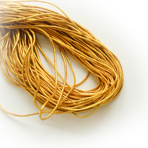 Эластичная лента (резинка шляпная), толщина 1,5мм, золото, 1м