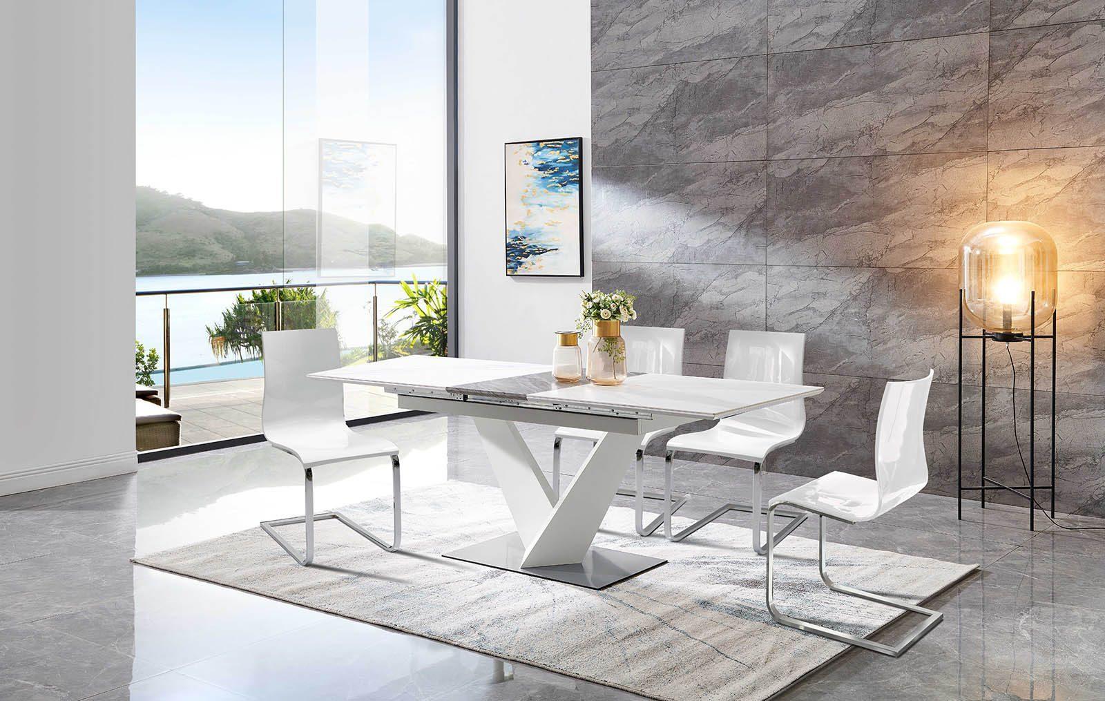Стол EDT-CS01 серая керамика и стулья 1003 белые