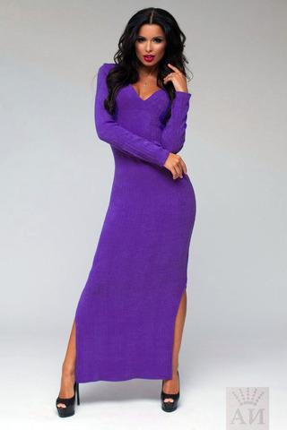 Платье ангоровое в пол с вырезом на груди, фиолетовое