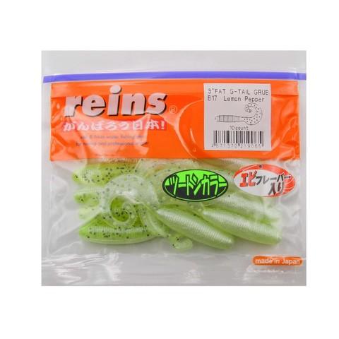Приманка силиконовая Reins Fat G-Tail Grub 3 (упак. 10 шт.) / B-17 - Lemon Pepper