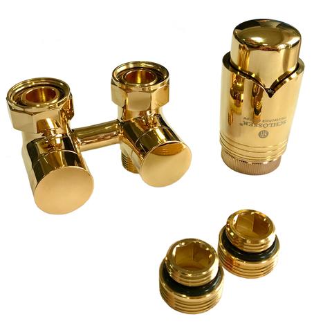 Комплект эксклюзивного узла подключения 50 мм с термоголовкой Золото. G3/4 x М22x1,5, Форма Угловая, Нипель 2 шт. 1/2 x 3/4