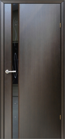 Дверь Модерн - 3 (стекло чёрное бриллиант) (венге, остекленная шпонированная), фабрика LiGa