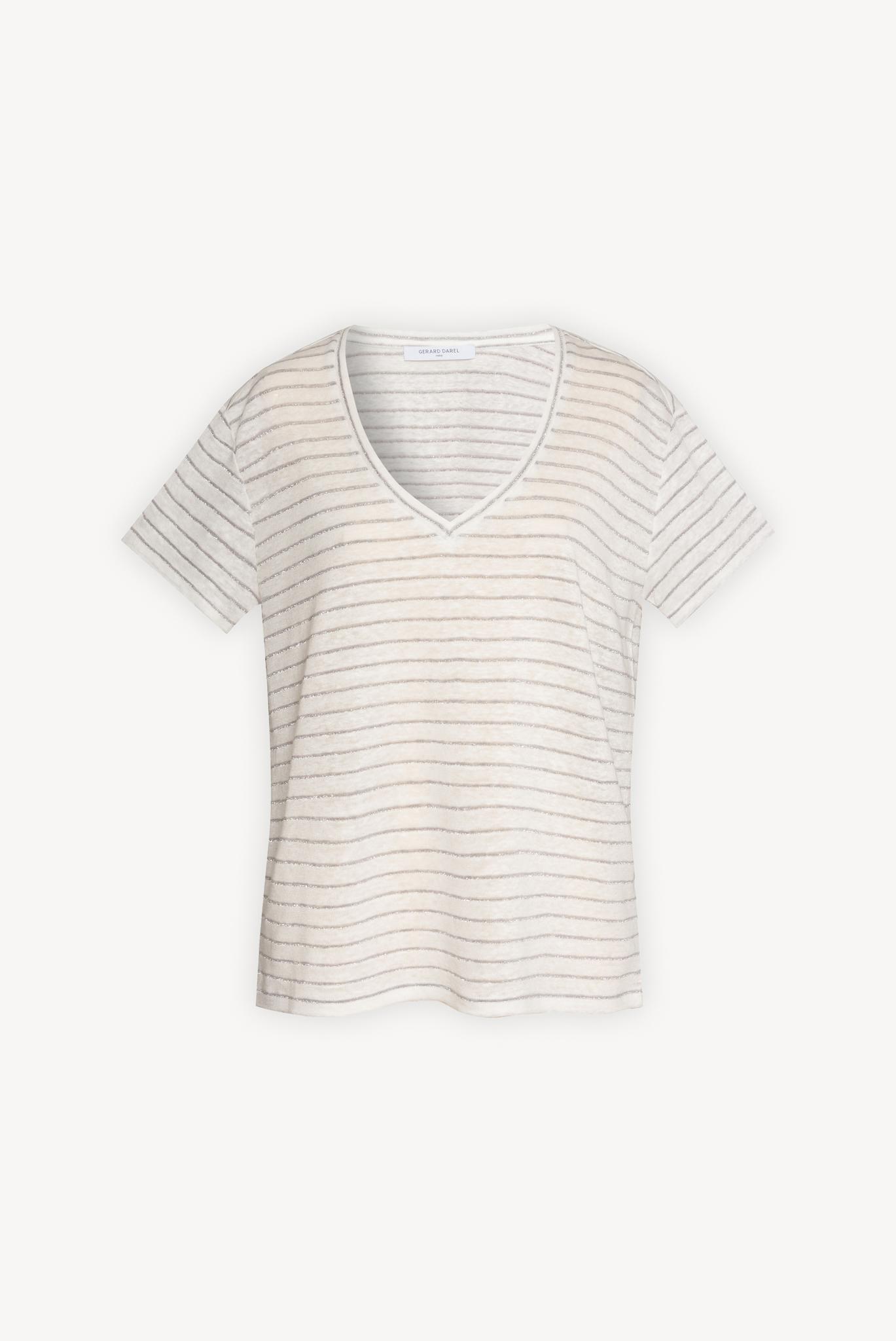 Льняная футболка с V-образным вырезом и с люрексовыми полосками