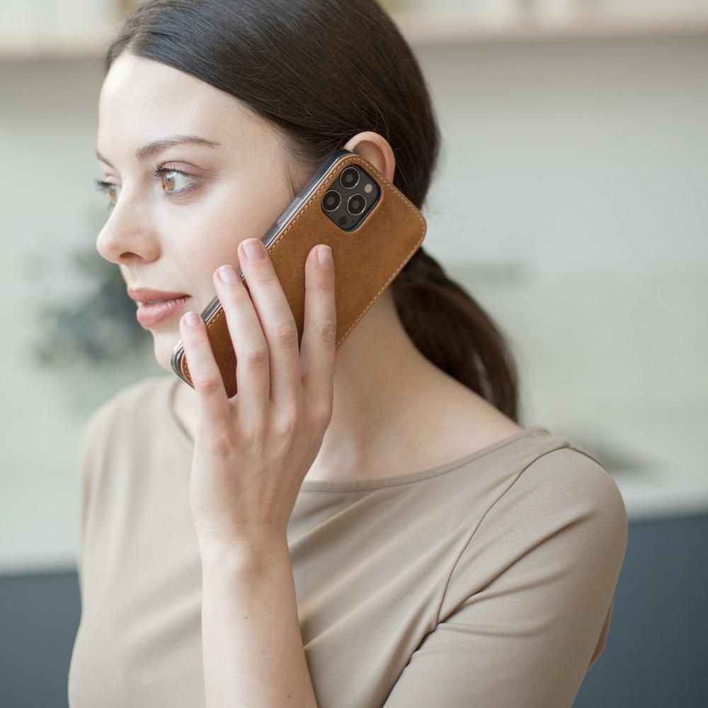 Чехол-накладка для iPhone 12 Pro Max из натуральной кожи теленка, цвета винтаж