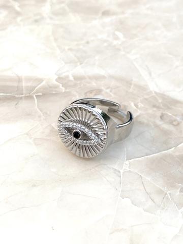 Кольцо-печатка Глаз Ра из серебра