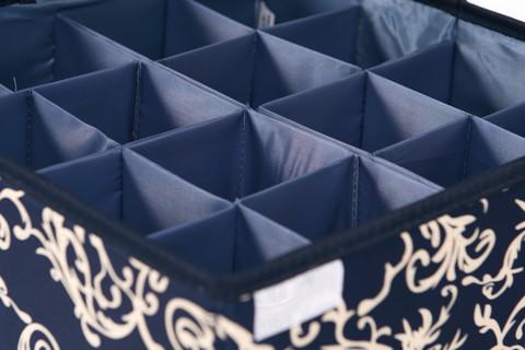 Складной органайзер, 16 ячеек, 32*32*12 см (темно-синий с узорами)