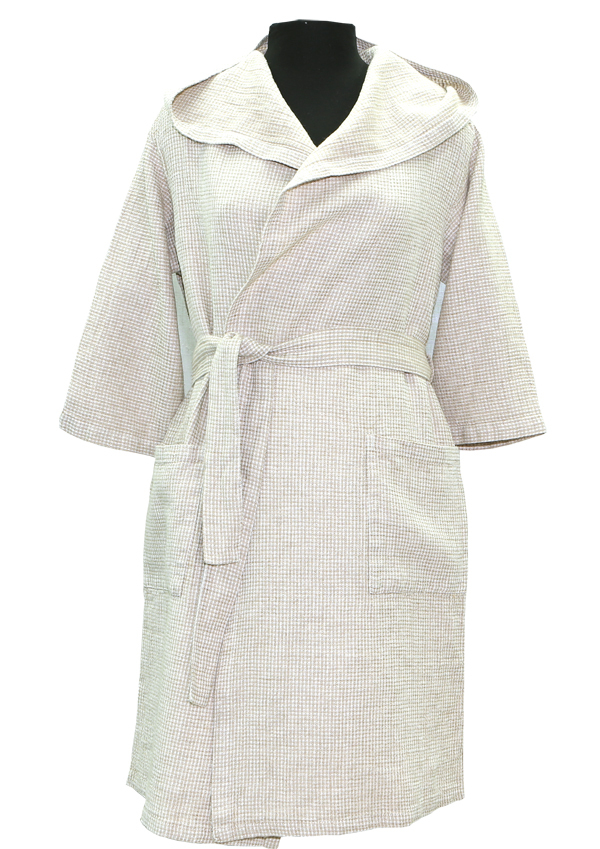 Льняной халат для бани женский с капюшоном