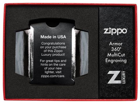 Зажигалка Zippo Armor с покрытием High Polish Gold Plate, латунь/сталь, золотистая, 36x12x56 мм123