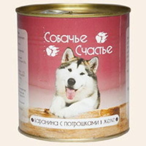 Собачье счастье Баранина с потрошками в желе, 750г (упаковка 12 банок)