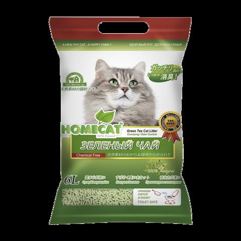 Homecat Eco Line Зеленый чай Наполнитель для кошачьих туалетов комкующийся с ароматом зеленого чая