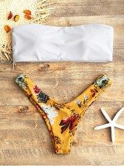 купальник раздельный бандо белый желтый цветочный 3