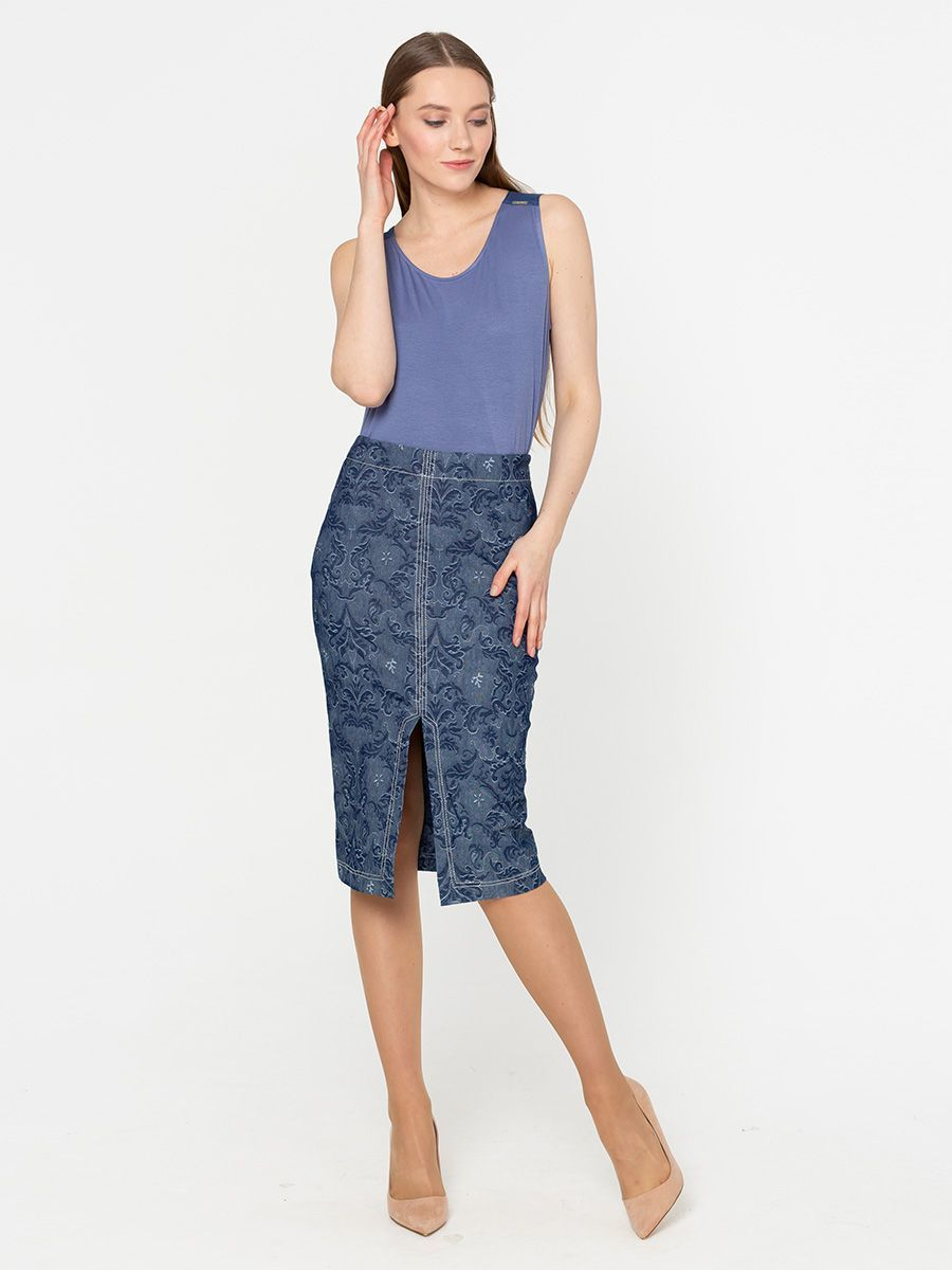 Юбка Б021-194 - Стильная прямая юбка-карандаш модной длины с эффектным разрезом спереди.