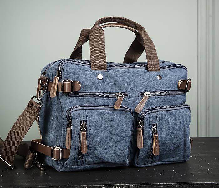BAG475-3 Мужской городской рюкзак трансформер синего цвета