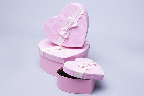 Коробка Сердце набор из 3 шт. 21x20,5x9 см, цвет: розовый