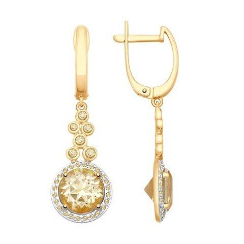 725341 - Серьги из золота с топазами Swarovski и жёлтыми Swarovski Zirconia