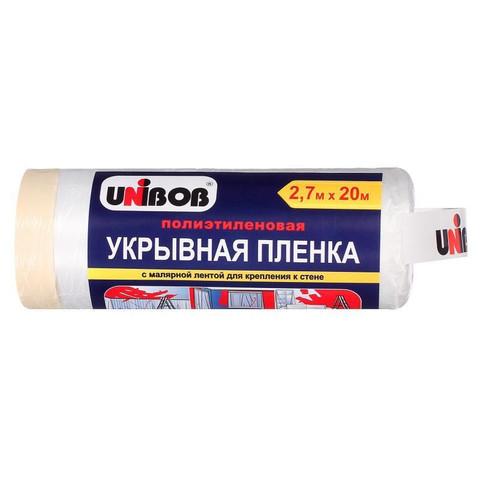 Пленка полиэтиленовая укрывная защитная Unibob 2,7x20 м с малярной лентой