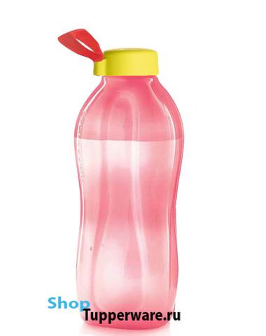 Бутылка Эко коралловая 2 л  с желтой крышкой с ручкой держателем