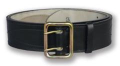 Ремень офицерский кожаный, черный, поясной с анодированной пряжкой (h=50мм)