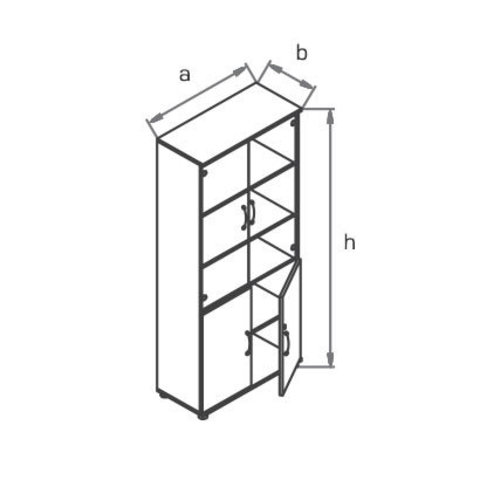 Шкаф со стеклянными дверцами R5S72 МОНО-ЛЮКС