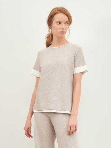 Женская футболка светло-кофейного цвета из вискозы - фото 2