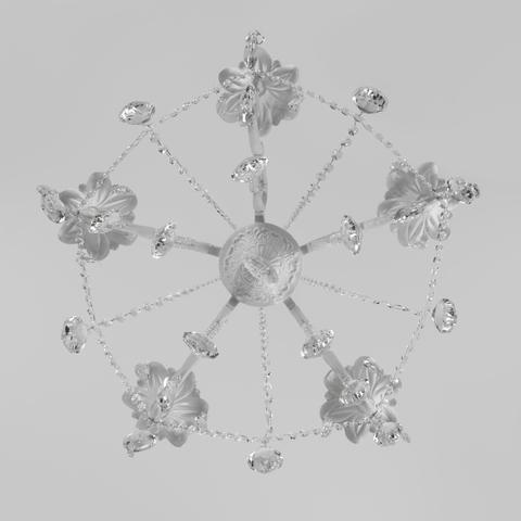 Классическая подвесная люстра 10108/5 белый/прозрачный хрусталь Strotskis