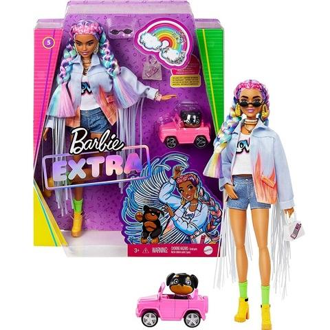 Барби Экстра 5 в Джинсовой Куртке с Длинной Бахромой, Радужными Косами и Щенком