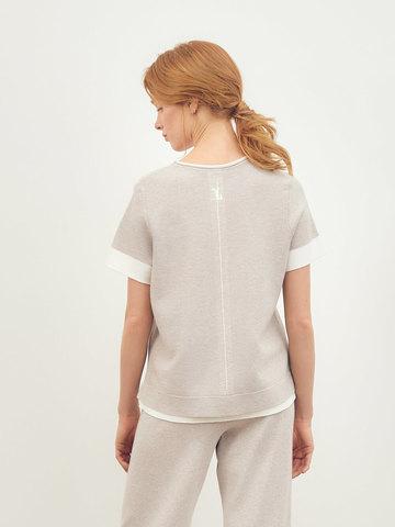 Женская футболка светло-кофейного цвета из вискозы - фото 4