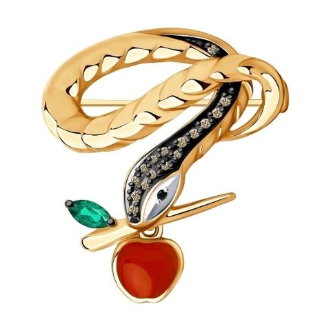 6047001 - Брошь из золота с бриллиантами и изумрудом