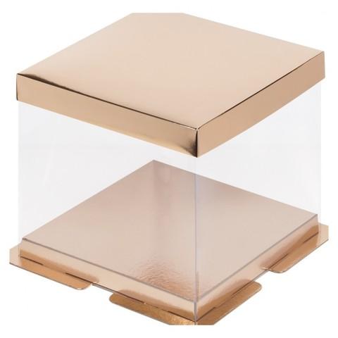 Коробка под торт Премиум, 26*26*28см (золото)