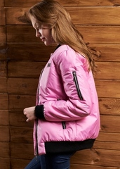 Женский бомбер-пилот розовый